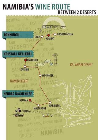 Route vins namibie
