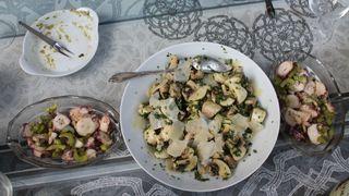 Poulpe, salade champignons & parmesan