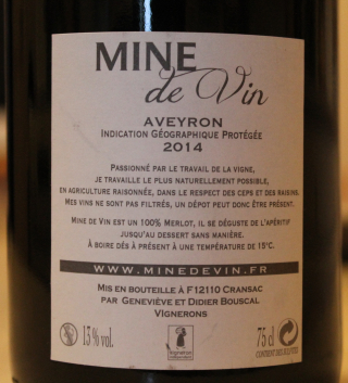 Mine de vin cuvée mine de vin merlot